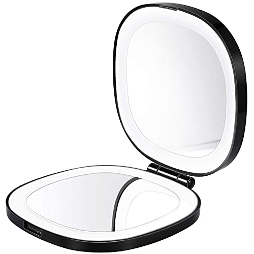 Vanity Mirror Rechargeable Led Lighted Travel Makeup Mirror 1 Times Or 10 Times Magnifying Black
