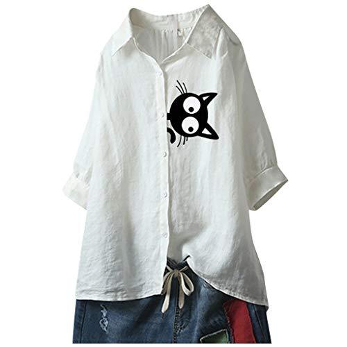 Janly Clearance Sale Blusa de algodón para mujer, talla grande, con estampado de gato, media manga, solapa, para verano, color blanco y L)
