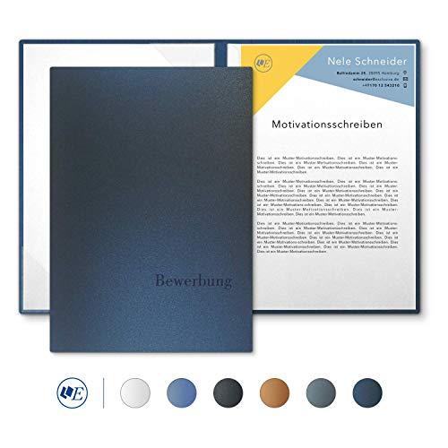 """5 Stück 2-teilige Bewerbungsmappen Esclusiva® Classic-plus in Nachtblau mit 1 Klemmschiene // in 1A-Premium-Qualität mit hochwertiger Flach-Prägung """"BEWERBUNG"""" // Produkt-Design von"""