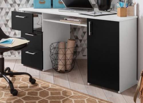 Schreibtisch Eck Weiss-schwarz Eck-Bürotisch Eckschreibtisch - (3931)