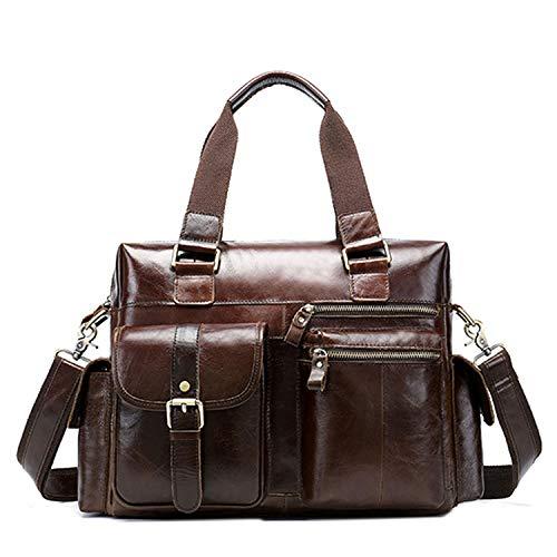 Herren Aktentasche, Messenger Bag, Herren, Laptop, Schultertasche für Herren, große Aktentasche, Reisetasche, Coffee (Braun) - 605-WTpk8sM3g3-QyWS8D3g4