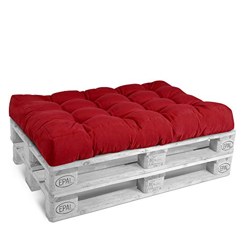 Beautissu Cojín Palet, sofá-Palet y europalet Eco Style - Cojín de Asiento para europalet 120x80x15 cm - Color: Rojo - Cojín: Asiento