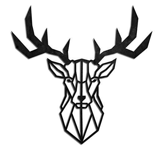 KESTEX XL WANDBILD WALL ART METALL HIRSCH GEWEIH 49 x 49 cm schwarz pulverbeschichtet WAND DEKO Premium | Geometrische Metallwandkunst Wanddekoration
