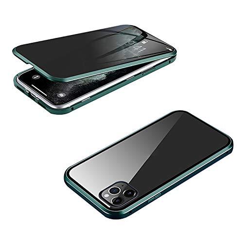 XWCG Funda para iPhone 12/12 Mini/12 Pro MAX Anti-Peep Carcasa 360° Proteccion Funda Carcasa Anti-Choques y Anti- Arañazos Cover Ambos Lados Vidrio Templado Cubierta,Green 1,12Mini