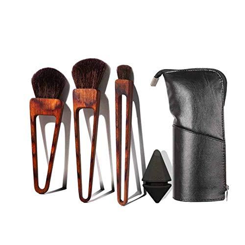 Hnd Pincel de maquillaje, maquillaje Triángulo Cepillo, Cepillo for mascota Cabeza del pelo, 3 de cepillo del maquillaje (enviar Negro huevo de belleza y maquillaje bolsa de cepillo ( Color : Black )