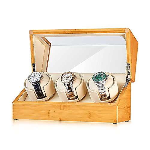 SGSG Enrolladores de Reloj Enrollador de Reloj de bambú Agitador automático de Reloj Reloj mecánico Caja de Almacenamiento de Reloj con Placer Giratorio con Control de Acceso Dispositivo de Reloj