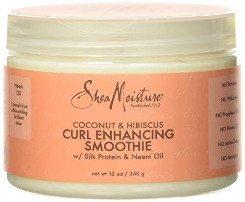 Shea Moisture, Maschera per capelli ricci con proteine della seta e olio di nim, Profumo: Cocco e Ibisco, 340 g