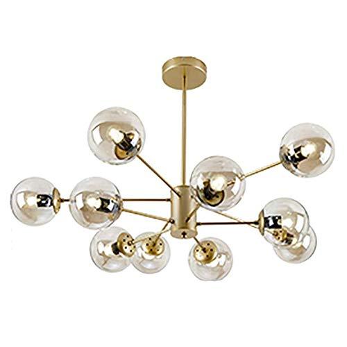 WLABCD Nordic Sputnik Chandelier E Rama de Latón Moderno Iluminación Colgante Bola de Vidrio Molécula Industrial Lámpara de Techo con Pantalla de Vidrio,Dorado,10 Luz