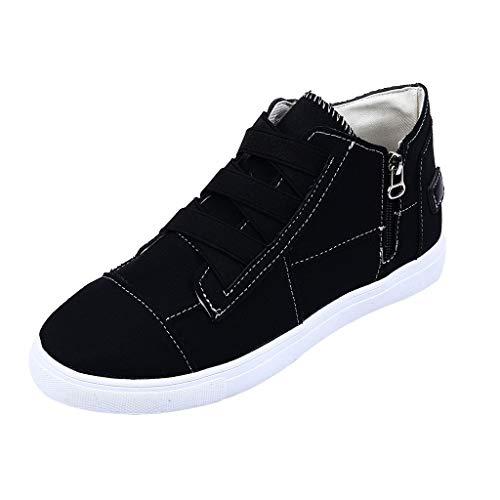 WFRAU Damen-Sportschuhe mit Reißverschluss Einfarbige Schuhe aus Leinen in Übergröße Damenmode Vintage-Flachschuhe zum Laufen Walking-Schuhe