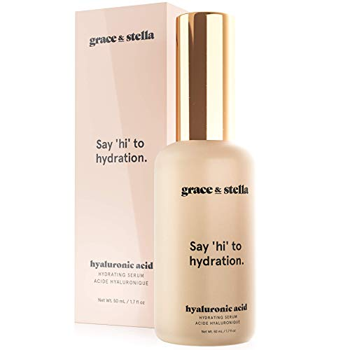 Grace & Stella Hyaluronic Acid Serum - Vegan - Hylarounic, Acido Hialuronico, Hyloranic Acid Serum to Hydrate and Remove Fine Lines + Wrinkles, Promoting Collagen Production (1.7oz)