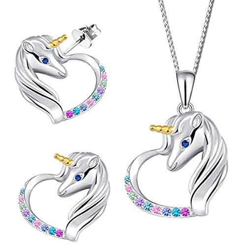 Mädchen Kinder Schmuckset 925 echt Silber Herz Einhorn Pferde Ohrstecker Halskette mit Ohrringe 40cm Bunt K910+K911+V12