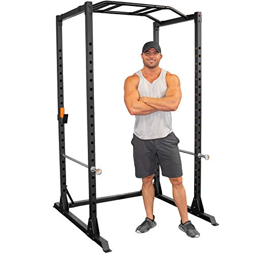 GRIND Fitness Alpha3000 Power Rack, Squat Rack with Barbell Holder, Silver Spotter Arm,2x2 Uprights, 1500 lbs Weight Limit, Textured Multi-Grip Pull Up Bar, Heavy Duty J-Cups