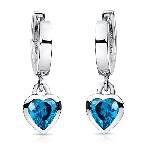 MATERIA Orecchini a cerchio per bambini, in argento 925 con zirconi, a forma di cuore, 18 x 2 mm, in 5 colori, per ragazza, in confezione regalo e Argento, colore: Blu, cod. SO-389