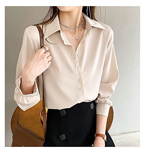 camicia donna coreana DAHDXD 4XL OL. Style Chiffon Blusa Donne Plus Size Manica Lunga Elegante Tops Camicia Solid Manica Lunga Coreana Blusas Blusas (Color : Apricot