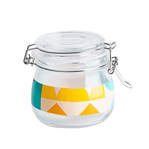 Vasetti di vetro ermetici sigillati ermetici coperchio ermetico per fermentazione, dispensa, vasi da cucina, contenitori per alimenti sfusi (1 litro), set di 2 (dimensioni: 500 ml)
