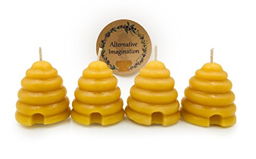 Pure Beeswax Beehive Candle Set - Shaped Votive Candles with a Natural, Light Honey Scent - Eco...