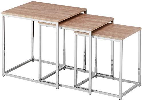 Haku-Möbel 33083 3-Satz-Tisch,29/34/39 x 29/34/39 x 36/39/42 cm, Chrom/Eiche hell