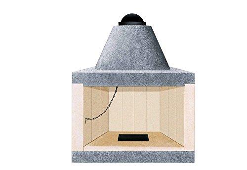 Caminetto camino refrattario cucina cibi legna angolo e parete mc 50 VZ100