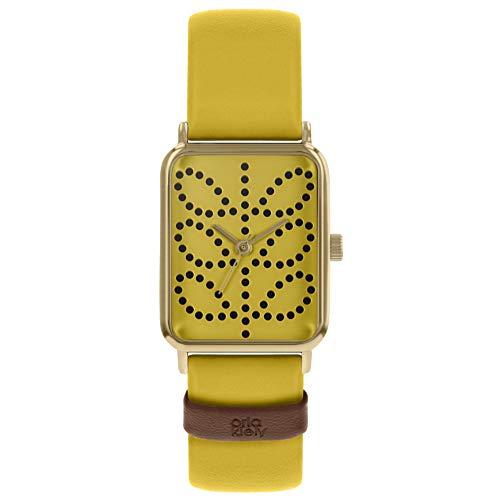 Orla Kiely Damen Analog Klassisch Quarz Uhr mit Leder Armband OK2304