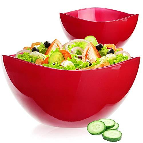 PLATINUX Salatschüssel Obstschale Set 2 teilig Rot glänzend Glasschale Servierschüssel aus Glas groß 1,7L