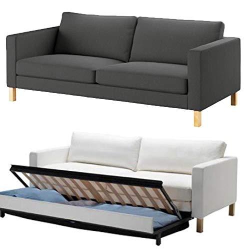 Funda de sofá de algodón resistente. Sofá no incluido. Funda de repuesto para sofá cama Karlstad de Ikea Karlstad, funda para cama de 3 plazas. (Algodón grueso gris oscuro)