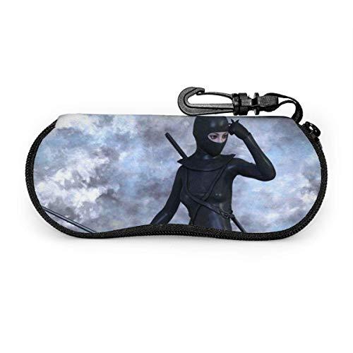 wusond Gafas de sol Warrior Ninja Amazone Estuche protector para anteojos Conjunto portátil Cremallera de viaje Estuche para gafas de neopreno suave Estuche para gafas