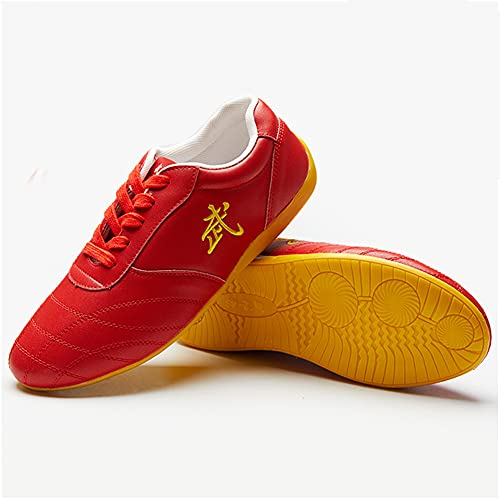 Unisex Zapatos de Tai Chi Artes Marciales, Otoño Zapatos de Kung Fu Taekwondo para Hombres y Mujeres, Adulto Ligera Zapatillas de Entrenamiento Deporte para Boxeo, Karate(Size:35EU/4US,Color:Rojo)