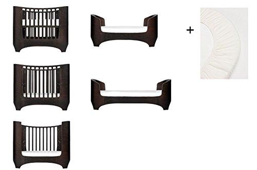 walnuss Leander Baby- und Kinderbett + 1 Set (= 2 Stück) Original-Spannbetttücher in der Babygröße