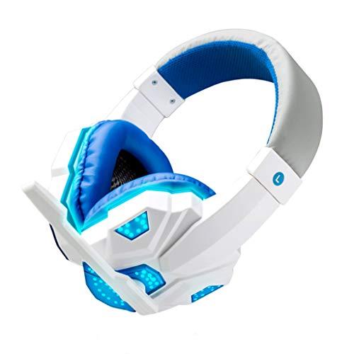 ハイエンドで手頃な価格のゲーミングヘッドセット//Marxways Gaming-Headset 3,5-mm-Over-Ear-LED-Licht, Bass-Surround, Ohrenschützer mit weichem Speicher Stereo-Gaming-Kopfhörermikrofon Für PS4, PC, Xbox One-Controller (Weiß)