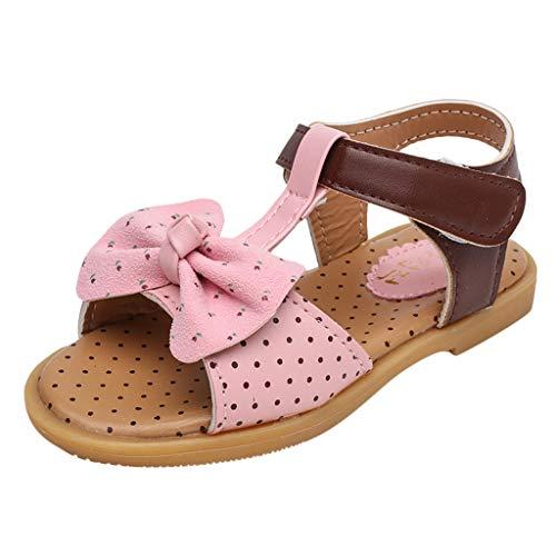 Baby Shoes Beach Sandals,Ewendy Chaussures de Princesse bébé Noeud Papillon Chaussures Simples pour Enfants à Pois antidérapantes pour (1-7 Ans White) (1-2ans, Rose)