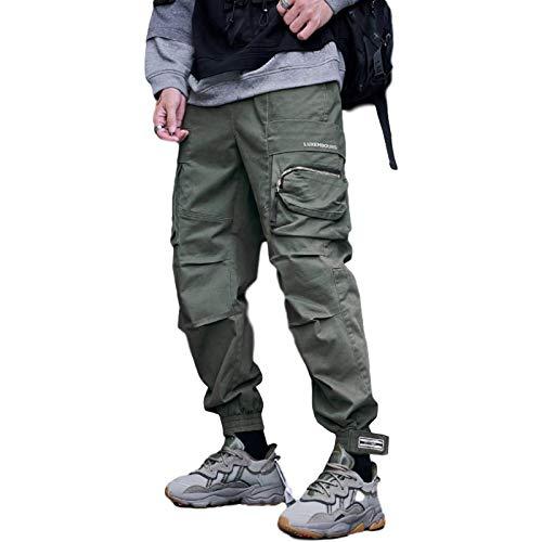 Huntrly Monos para Hombre Tendencias de la Moda de otoño e Invierno Pantalones Casuales Multibolsillos Sueltos Pantalones Deportivos de Gimnasio al Aire Libre XXL