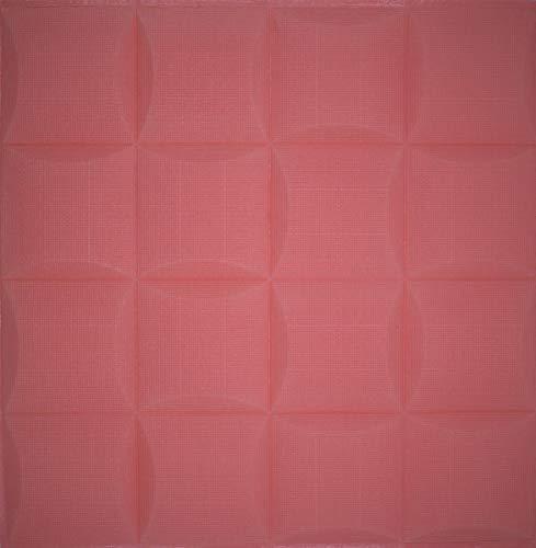 3D Tapete Wandpaneele selbstklebend - Moderne Wandverkleidung in Steinoptik in 4 verschiedenen Farben - schnelle & leichte Montage (12x Stück, Rosa)