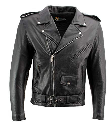 Xelement B7101 'Classic Armored' Men's Black High-Grade Leather Motorcycle Biker Jacket with X-Armor Protection - 5X-Large