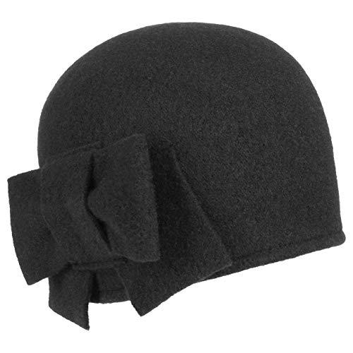 Seeberger Litika Wintermütze Walkmütze mit Schleife Walkhut Damenmütze (One Size - schwarz)