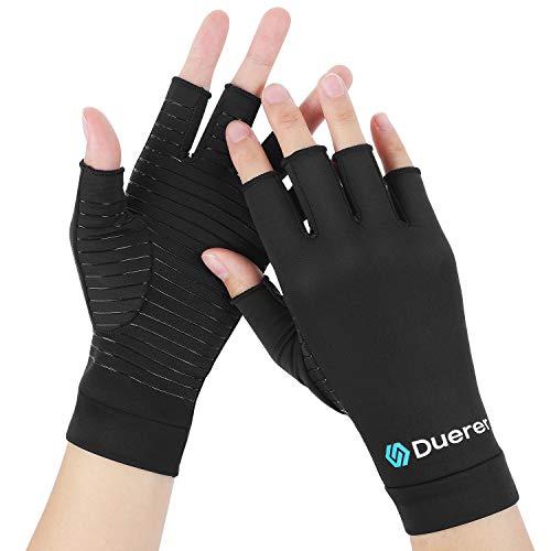 Guantes de cobre para artritis, Duerer Los mejores guantes de compresión para hombres y mujeres. Túnel carpiano RSI Guantes de compresión tendinitis reumatoide para el trabajo diario (Negro, Medium)