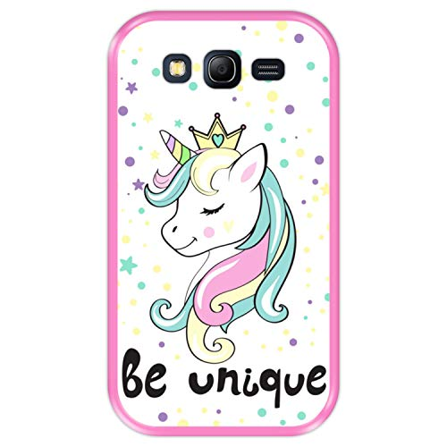Hapdey Funda Rosa para [ Samsung Galaxy Grand Lite - Grand Neo - Neo Plus ] diseño [ Unicornio, Arcoiris, Sé Único ] Carcasa Silicona Flexible TPU