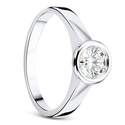 Orovi Ring Damen, Solitärring, Diamantring Weißgold Verlobungsring 18 Karat (750) Gold Ring mit Diamant Brillanten 0.50 ct Schmuck