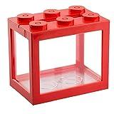Ohomr Mini Tanque de Pescados Decorativo apilable acrílico Tanque de Peces pequeños para Office té de los Regalos Decor Peceras Rojo