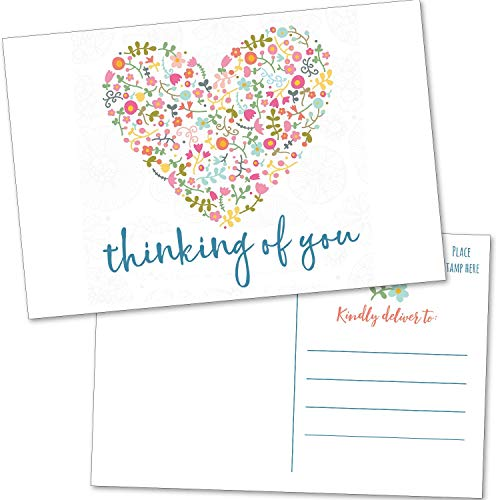 50 Thinking Of You Postcards - Encouragement Cards for Friends, Teacher, Kids, Family, Clients - Bulk Blank Missing You Greeting Cards to Say Hello and Miss You