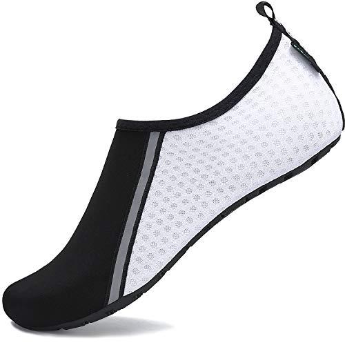 SAGUARO Hombre Mujer Zapatos de Agua Playa Escarpines Zapatillas de Deportes Acuáticos Buceo Surf Snorkel Yoga Piscina, Blanco 36/37