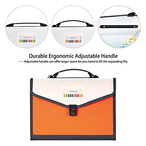 FANWU 13 Pockets Expanding File Folder Accordion File with Handle & Buckle - Letter A4 Paper Size - Expandable Plastic File Folder Monthly Portable Document Organizer for Home School Office (Orange) Photo #6