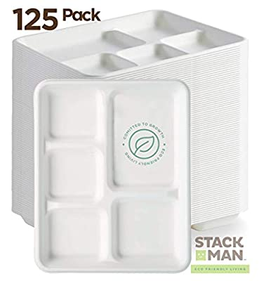 Stack Man 100% Compostable Paper Plate 125-Pack 5-Compartment Bagasse School Lunch Heavy Duty Quality Disposable Tray, Eco-Friendly Made of Sugar Cane Fibers