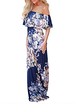 Sidefeel Women Ruffle Off Shoulder Floral Print Maxi Boho Dress Medium Rosy