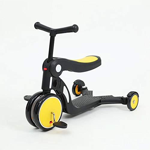 LABYSJ Scooter 5 en 1 de 3 Ruedas con Asiento ExtraíBle, Scooter para NiñOs con Manillar Ajustable, Plegable a 90 ° y Modos de 3 Velocidades, Scooters para NiñOs y NiñAs 1 a 6 Años,Amarillo
