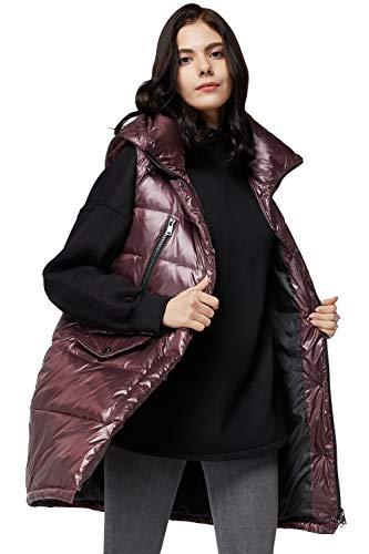 Orolay Womens' Down Vest with Stand Collar Thick Hooded Sleeveless Winter Coats Red XL