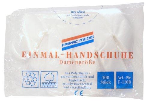 Fripac-Medis Einmal-Handschuhe, Beutel mit 100 Stück, Damengröße, geprägt