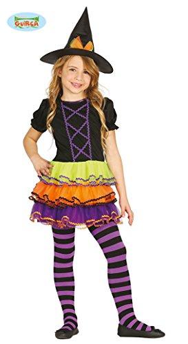 GUIRCA- kostuum heks voor meisjes, 3/4 A, kleur lila, oranje, groen en zwart, 87314