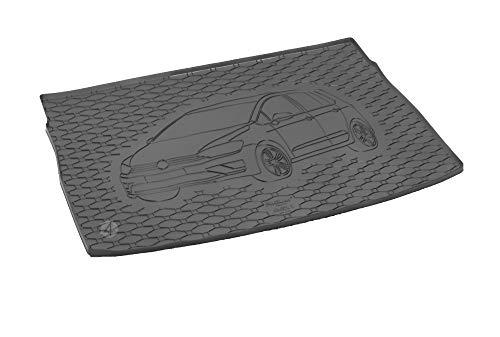 Passgenau Kofferraumwanne geeignet für VW Golf 7 Sportsvan ab 2014 ideal angepasst schwarz Kofferraummatte + Gurtschoner
