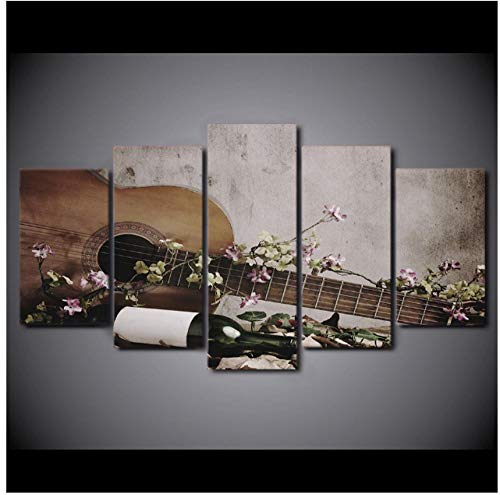 Jwqing hoogwaardige canvas kunst vintage gitaar HD-gedrukt poster Lake Wall Pictures Home Decor (30x40cmx2 30x60cmx2 30x80cm zonder lijst)