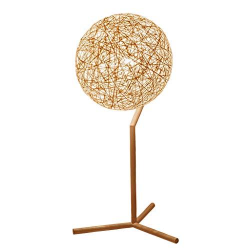 Tafellamp, bureaulamp, slaapkamer, bedlampje, eenvoudig, modern, dimbaar, snoer, rotan, bal hennep, bal kan als tafellamp, cadeau worden gebruikt.